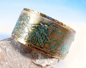 Brass cuff etched butterflies flowers