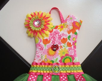 Boutique Tutu Bow Holder Floral Pink Green Orange Fuschia Spring Ladybug