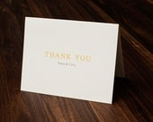 Simple Thank You Card, Wedding Thank You Card, Simple Invite, Yellow and Gray Thank You Card