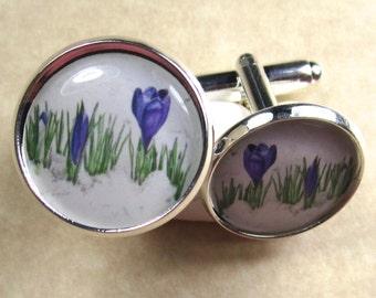 Purple Crocus Cufflinks, Crocus Mens Gifts, Crocus Wedding Jewelry, Crocus Bridal Jewelry, Crocus Grooms Cufflinks, Fathers Day Gifts