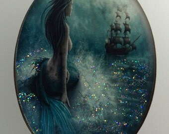 Pictorial Studio Button Mermaid Watching a Ship in the Distance