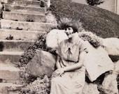 Original Antique Photograph Ella on the Steps