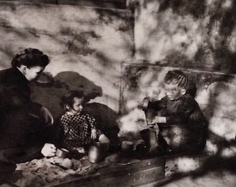 Original Antique Photograph Playtime in the Afternoon Shadows