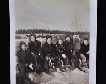 Original Antique Photograph Kids Snow Day
