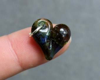 Green Charm Baby Heart Lampwork Hand Blown Boro Charm, Jewelry Mini Tiny Baby Heart
