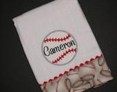 Personalized, appliqued burp cloth; baseball burp cloth; sports burpie