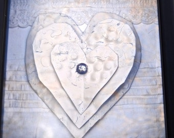 Hearts Shadowbox, Recycled Tin Tile, Framed Tin Hearts, Repurposed Salvaged Tin Tiles, Rustic Wall Hanging, Cottage Chic White Heart Decor