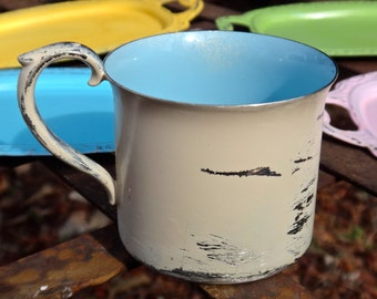 Reed and Barton, Cup, Silver Cup, Child's Cup, Metal Cup, Flower Vase, Shabby White Blue Cup, Painted Cup, Rochester NY, Metal Vase, Casa
