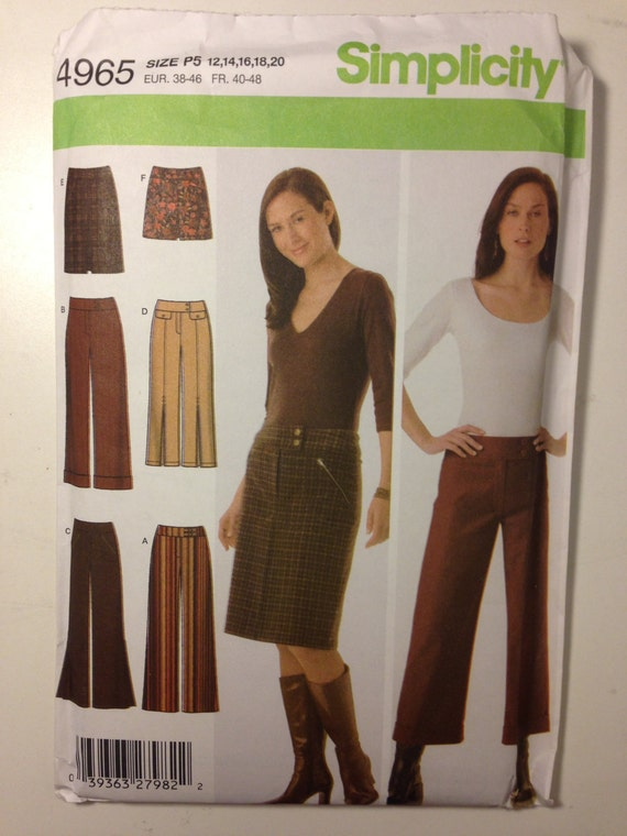 Simplicity Sewing Pattern 4965 Misses Pants and Skirt Size 12-20