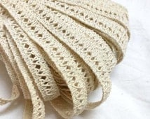 Organic / Tea Stained Lace Trim / Edwardian Wedding Lace / Doll Lace 5 Yards