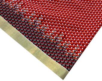 Red and Orange | Black | Gold Geometric Print Cotton - Soft Cotton Golden Border Fabric - Dress Fabric By Yard