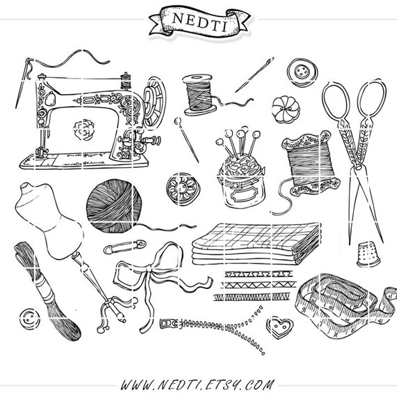vintage sewing fashion doodle hand drawn clipart  sketched