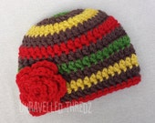 Rasta Baby Flower Hat, Crochet Baby Girl Hat, Newborn Girl Hat, Baby Beanie
