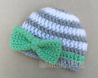 Newborn Girl Hat with Bow, Crochet Baby Girl Hat, Mint Green Baby Bow Hat, Newborn Photo Prop Hat