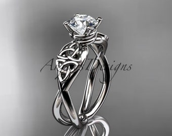 14kt  white gold  celtic trinity knot wedding ring, engagement ring  CT770