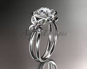 14kt white gold diamond unique butterfly engagement ring,wedding ring ADLR330