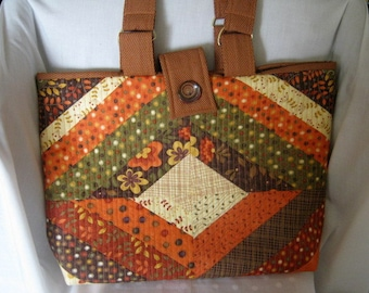 Quilted Yarn Orgainzer Tote, Project Craft Yarn Tote Scrappy Fall Colors, Library Book Bag,  Bible Tote, Autumn Market Tote Bag