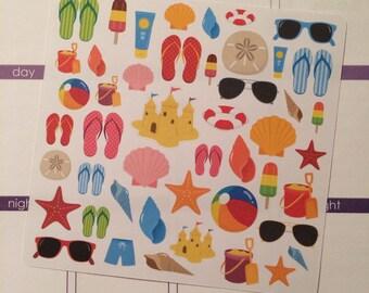 40-50% OFF SALE - Fun In the Sun Planner Stickers, Summer Stickers, Vacation Planner Stickers, Beach Planner Sticker, set of 55