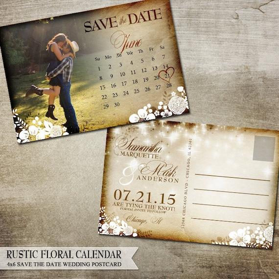 Printable Rustic Save the Date Postcard   Calendar, Flowers, Banners ...