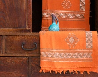 Vintage Orange Geometric Design Textile/Fabric/Shawl Wall Hanging