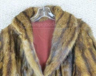 FUR Coat Brown Wide Collar Cuffed Sleeves 18 inches at shoulder 22 sleeves 44 bust 24 inches long