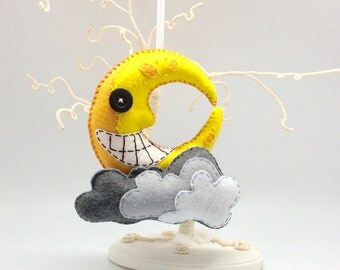 Moon and cloud mobile, felt mobile, smiley moon decoration, halloween moon, childrens toy, geeky ornament