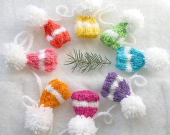 Bright Miniature Hat Garland- Birthday, Baby Shower, Holiday Decor- 8 Sugarplum Hats- Ready To Ship- Rainbow