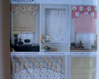 Simplicity Window Treatments Roman Shades Valance Sewing Pattern 5476 UC FF Uncut Shades