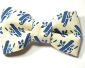 Men blue ivory plane bowtie - Baby, toddler boys tie Wedding Kids Clip-On Bow Tie