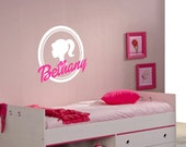 """23"""" Tall Personalized Barbie Sillhouette with Name - Vinyl Wall Decalz"""