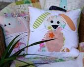 Happy Little Rabbits Applique Cushion PDF Pattern - instant download