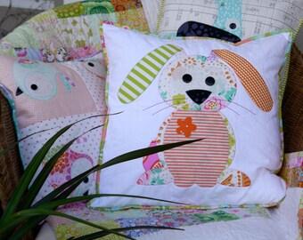 EASTER SALE! Happy Little Rabbits Applique Cushion PDF Pattern - instant download