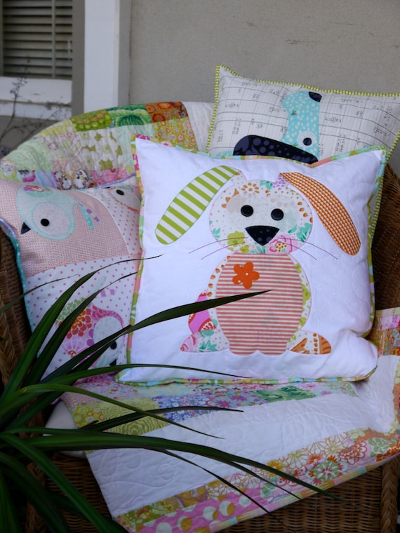 Happy Little Rabbits Applique Cushion PDF Pattern - instant download