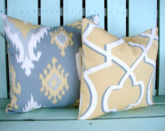 Set of 2  grey,yellow natural Ikat geometric Premier print- decorative pillow cover-accent pillow-gifts under 40-throw pillow