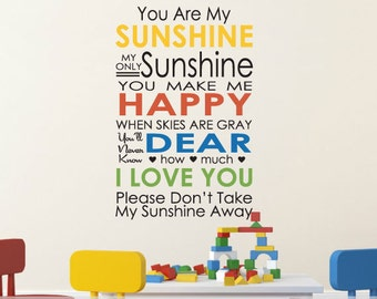Vinyl Subway Wall Decal You Are My Sunshine Subway Art Play Room Wall Decal Baby Nursery Wall Art Childrens Room Decor baby wall decor