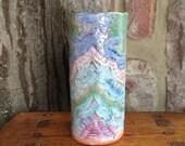 Colorful Handmade Ceramic Vase or Utensil Holder