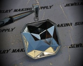 SALE Silver Plated Square Brass Setting Pendant For Swarovski 23x23mm Faceted Square Fancy Stone 4675