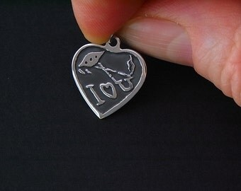 Sterling Silver UFO 'I Love You' heart charm - Ooak - hand painted and hand etched
