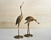 Mid Century Brass Cranes Figurines