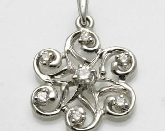 Vintage 14k white gold Diamond Swirl Pendant 0.36 carats sparkly Estate