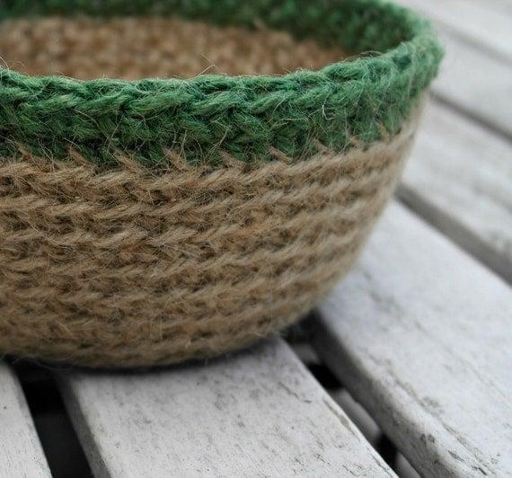 5e1a123fe0f Crocheted Jute Bowl Plant Pot Holder Crochet by HomeDecorLab