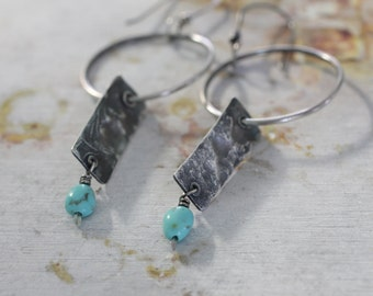 Reticulated Silver Earrings with Campitos Turquoise Beads, Hoop Earrings