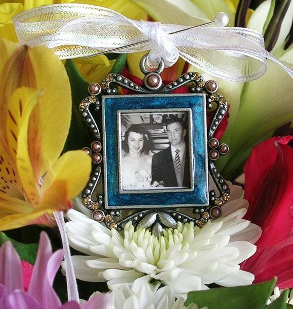 Bridal Bouquet Photo Charm Something Blue Keepsake Vintage style Wedding Memorial Gift Bridal gift