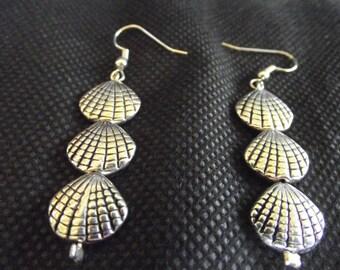 Silver Shell Dangle Earrings, 3 Shells Earrings.  Beach Earrings