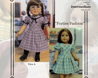 "PDF Pattern KDD10 ""Forties Fashion"" -An Original KeepersDollyDuds Design,18"" doll Clothes Fits American Girl"