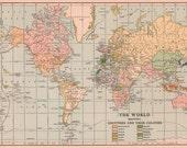 Old 1920's World Map - Vintage Art Image - Instant Digital Download