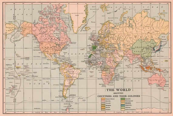 carte du monde ancienne 1920 39 s vintage art image par. Black Bedroom Furniture Sets. Home Design Ideas