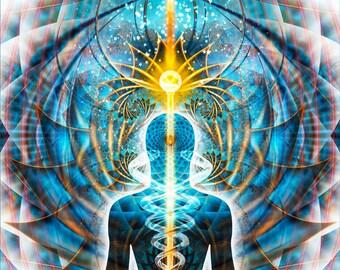 GALACTIC Cosmic Body - Tapestry, Wall Hanging - Original Spiritual Art, Visionary, Psychedelic, Shamanic, Sacred Geometry, Entheogenic Art