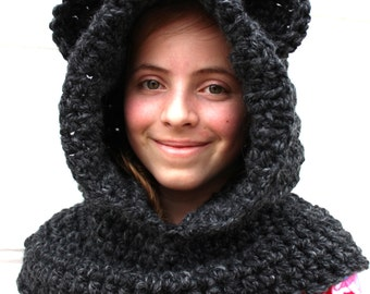 New Year's Eve Hooded Bear Cowl Chunky Crochet Winter Hat Soft Scarf Baby Toddler Child