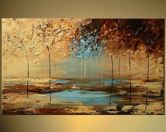 "Modern Landscape Abstract Original Acrylic Painting by Osnat - MADE-TO-ORDER - 40""x24"""
